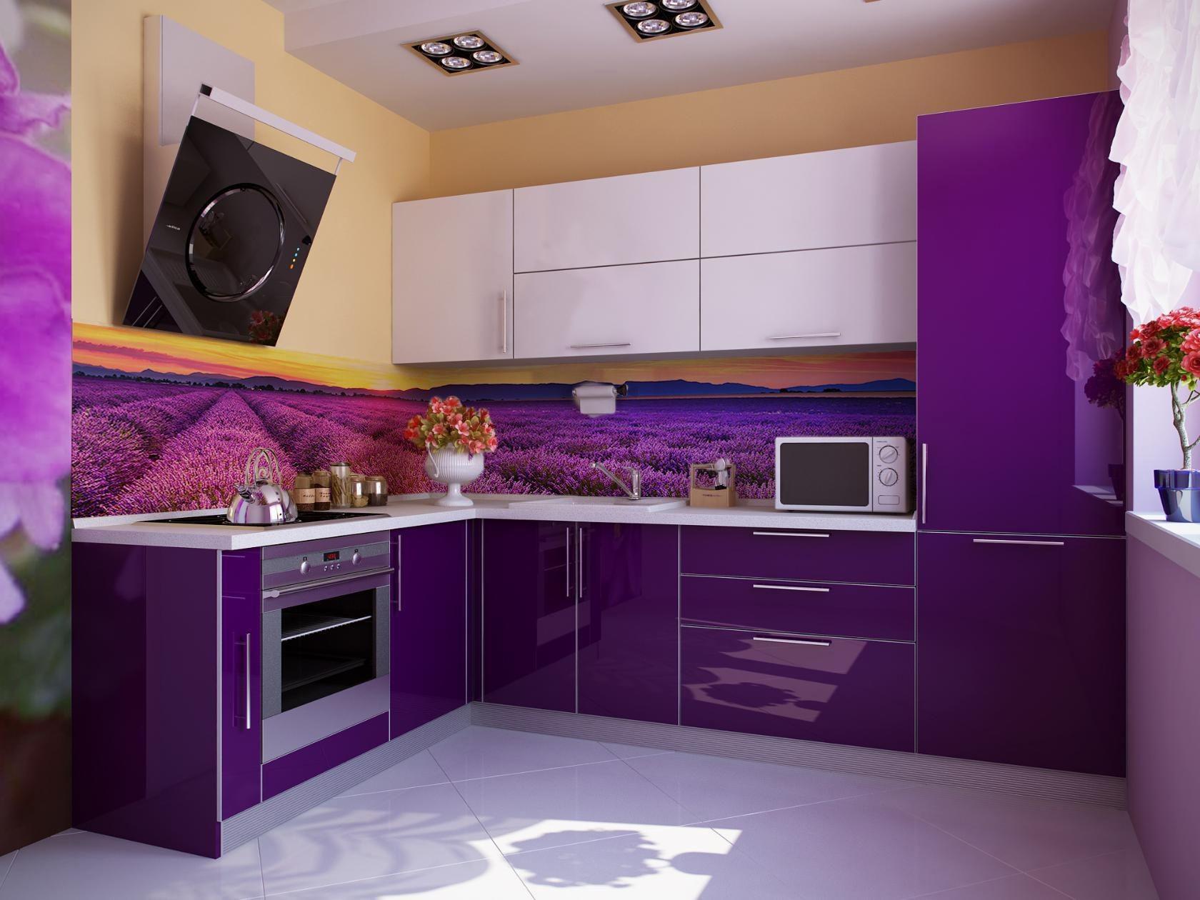 опубликованном угловые кухни фиолетового цвета фото красивое старинное