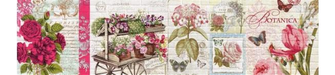Кухонный фартук Ботаника-кирпич