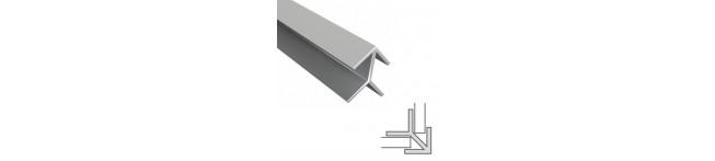 Планка угловая для панелей 6мм. (матовый алюминий). Размер : 600 мм.